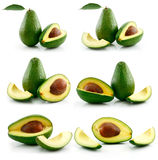 Set of Ripe Sliced Avocado Fruits Isolated Stock Photo