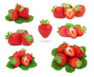Set ripe strawberries with green leaves (isolated) Royalty Free Stock Images