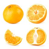 Set of ripe tangerine different parts close up on a white. Isolated. stock photos