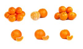 Set of Ripe tangerine or mandarin with slices on white Stock Photo