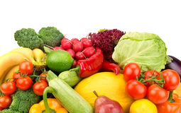 Set of ripe vegetables and fruits Royalty Free Stock Photos