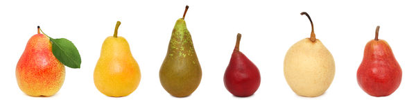 Set ripe whole pears (isolated) Royalty Free Stock Images