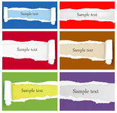 Set of ripped colorful paper backgrounds. Stock Photo