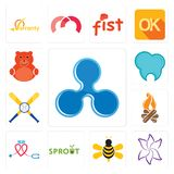 Set of ripple, lily flower, honey bee, sprout, nursing, bonfire, baseball team, dental clinic, cute bear icons. Set Of 13 simple editable icons such as ripple Royalty Free Stock Images