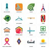 Set of rising sun, courage, breast cancer ribbon, hookah, lodging, towing, rhino, oxygen, girls bathroom icons. Set Of 16 simple  icons such as rising sun Stock Photos