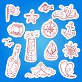 Set ręka malujący doodle morza elementy Zdjęcia Stock