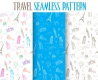 Set ręka Rysująca podróż Światowy Bezszwowy wzór Obraz Royalty Free