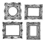 Set ręki rysować obrazek ramy łatwe tło ikony zamieniają przejrzystego cienia wektor Obraz Royalty Free
