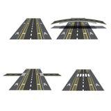 Set różne drogowe sekcje z peshihodnymi skrzyżowaniami, rowerowymi ścieżkami, chodniczkami i skrzyżowaniami, ilustracja Obrazy Royalty Free