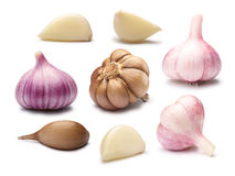 Set różni czosnków cloves, ścieżki Zdjęcie Stock