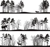 Set różni krajobrazy z drzewami i zwierzętami Obrazy Royalty Free