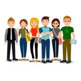 Set różnorodna szkoła wyższa lub studenci uniwersytetu Wektor grupa ucznie Kreskówki ilustracja ucznie Fotografia Stock