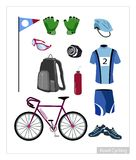 Set of Road Cycling Equipment on White Background Royalty Free Stock Photography