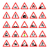 Set road hazard warning signs, road signs warn about the situation of traffic rules, vector red triangle. set of symbols Stock Photography