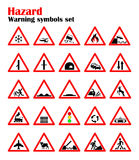Set road hazard warning signs, road signs warn about the situation of traffic rules, vector red triangle. set of symbols.  Stock Image