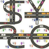 Set of road junctions, resembling the dollar signs, euro, pound, yen, yuan. Way to the navigator. Humorous image. Vector illustration Royalty Free Stock Photo