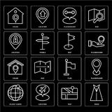 Set of Road, Map, Planet earth, Flag, House, Location, Placeholder, House icons. Set Of 16 icons such as Road, Map, Location, Planet earth, Placeholder, House Stock Images