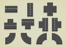 Set of road parts. For creating full road Vector Illustration