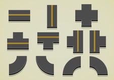 Set of road parts with yellow lines. For creating full road Stock Image
