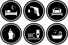 Set road signs for hotel or gas station. Black set round road signs for hotel or gas station Stock Images