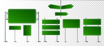 Set of road signs isolated on transparent background. Vector illustration royalty free illustration