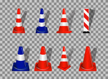 Set of Road signs. Orange and Blue Badge guardrails on transpare Royalty Free Stock Photography