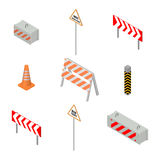 Set of road signs repairs in isometric, vector illustration. Stock Photo
