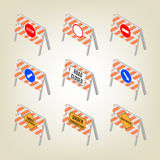 Set of road signs repairs in isometric, vector illustration. Royalty Free Stock Images