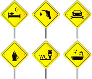 Set road signs with services for travel and car. Yellow set traffic road signs with services for travel and car Stock Photo