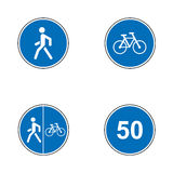 Set of road signs. Signboards. Collection of mandatory traffic signs. Vector illustration. Stock Photos
