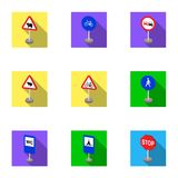 Set of road signs. Signs of prohibition, permission, priority. Road signs icon in set collection on flat style vector Stock Photo