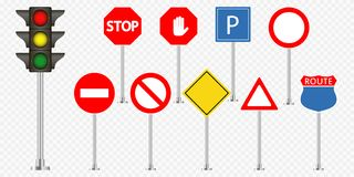 Set of road signs and traffic light on transparent background. Vector. Stock Photo
