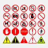 Set of road signs, warning  or prohibiting Stock Image