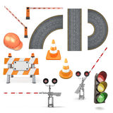 Set of road works Stock Photos