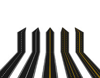 Set of roads with white and yellow marking in perspective in the form of arrows on a white background. Abstract Royalty Free Stock Images