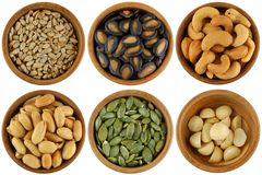 A Set of Roasted and Salted Nuts / Seeds Stock Photos
