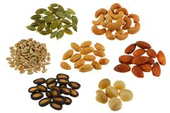 A Set of Roasted and Salted Nuts / Seeds Royalty Free Stock Photo