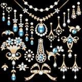 set robić złocistych i cennych kamieni bro biżuteria ilustracja wektor