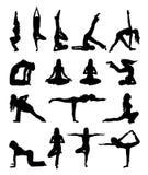 Set robi joga ćwiczeniu odizolowywającemu na bielu sihouette kobieta ilustracja wektor