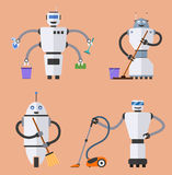 Set of robot cleaners. vector illustration