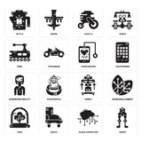 Set of Robot, Cloud computing, Tree, Augmented reality, Stethoscope, Tank, Vehicle, Kettle icons. Set Of 16 simple  icons such as Robot, Cloud computing, Boots Royalty Free Stock Photo