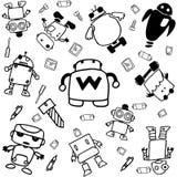 Set of robot doodle art Royalty Free Stock Photo