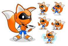 Set of Robot Fox Assistant royalty free illustration