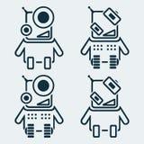 Set robot ikony w liniowym stylu royalty ilustracja