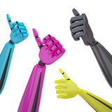 Set of robotic hands with thumb up. Royalty Free Stock Photos