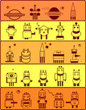 Set of robots in cosmos Royalty Free Stock Images