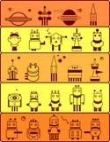 Set of robots in cosmos. Set of robots inhabitants of the planet Mars. Cartoon vector illustration