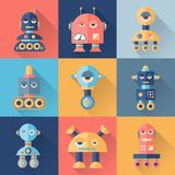 Set of robots in flat style Stock Image