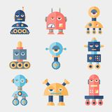 Set of robots in flat style Stock Photos