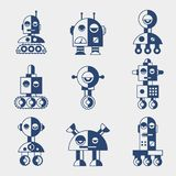 Set of robots in flat style Royalty Free Stock Photography